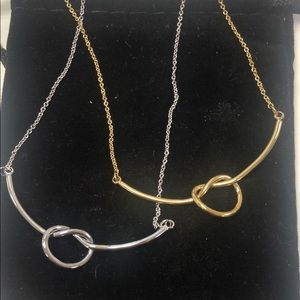 Simple Love Knot Necklace Silver or gold